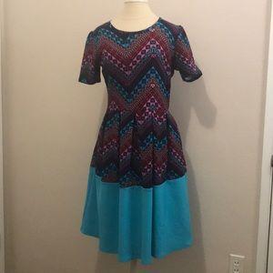 LulaRoe Purple Blue Amelia Dress sz Large L